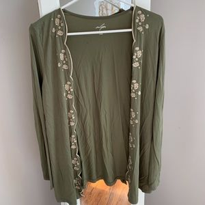 Francesca's Olive Green Scalloped Cardigan